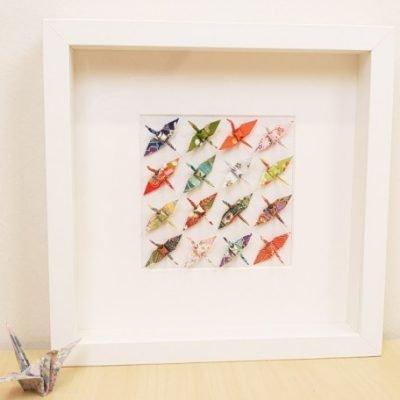 Cuadro grullas de origami (23x23cm)